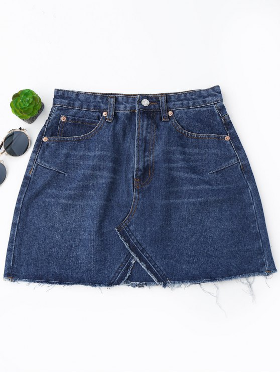 unique High Waisted Cutoffs Mini Denim Skirt - DEEP BLUE M