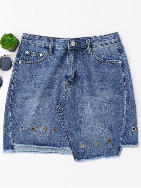 women Mini Cutoffs Asymmetrical Denim Skirt - DENIM BLUE L