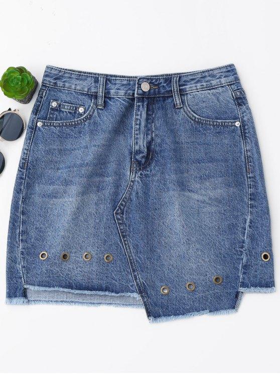 women Mini Cutoffs Asymmetrical Denim Skirt - DENIM BLUE L
