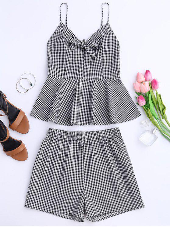 online Plaid Peplum Knot Top and Shorts - BLACK L
