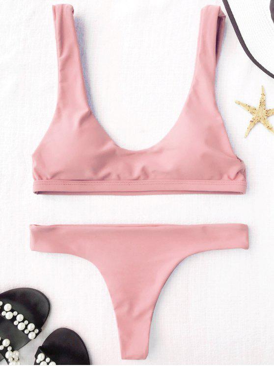 chic Padded U Neck Bralette Thong Bikini - PINK M