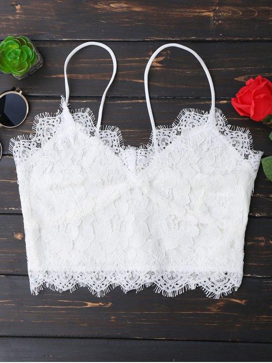 fancy Cami Scalloped Lace Tank Top - WHITE L