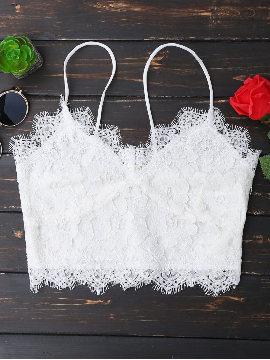 unique Cami Scalloped Lace Tank Top - WHITE M