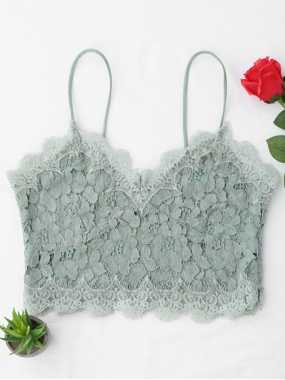 womens Cami Scalloped Lace Tank Top - LIGHT GREEN S