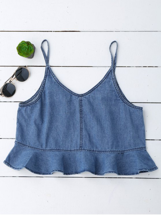 Cami Tank Top Denim à Volants - Denim Bleu S