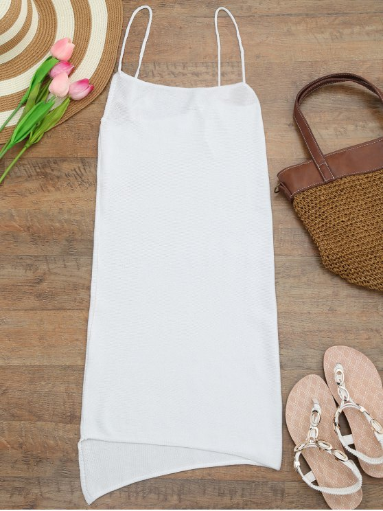 best Camisole Knit Cover Up Slip Dress - WHITE ONE SIZE