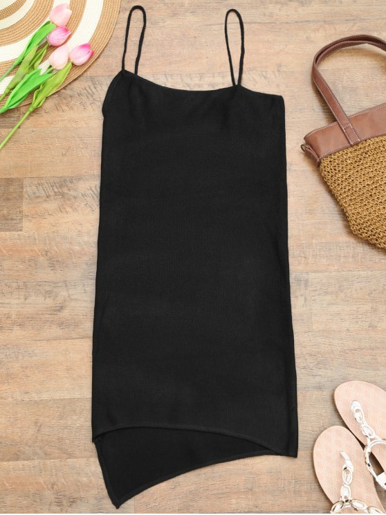 online Camisole Knit Cover Up Slip Dress - BLACK ONE SIZE