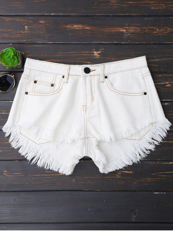 shop Cutoffs High Low Denim Shorts - WHITE M