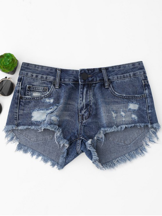 latest Cutoffs Ripped High Low Denim Shorts - DENIM BLUE L