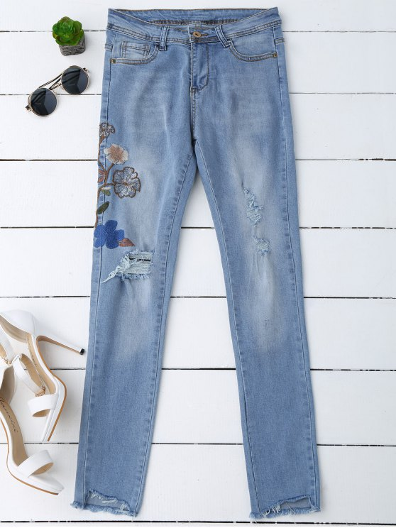 fancy Ripped Floral Embroidered Sequins Jeans - DENIM BLUE L