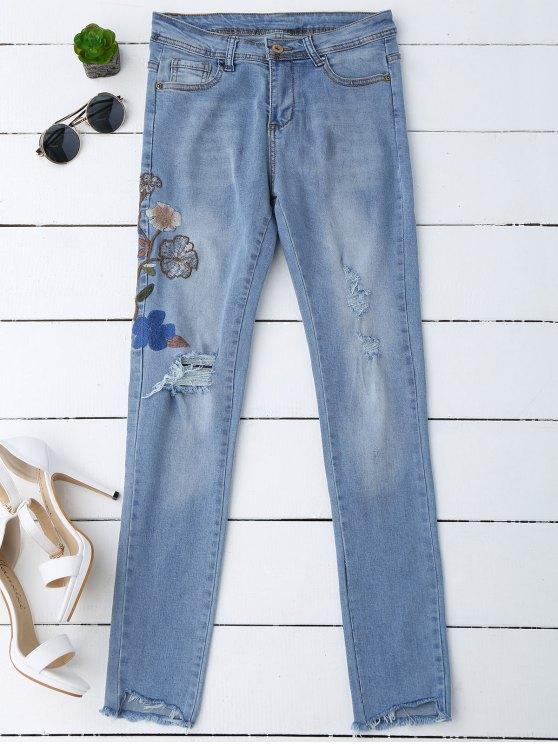 unique Ripped Floral Embroidered Sequins Jeans - DENIM BLUE M