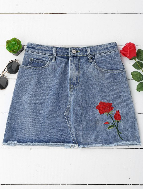 affordable Floral Embroidered Cutoffs Mini Denim Skirt - DENIM BLUE M
