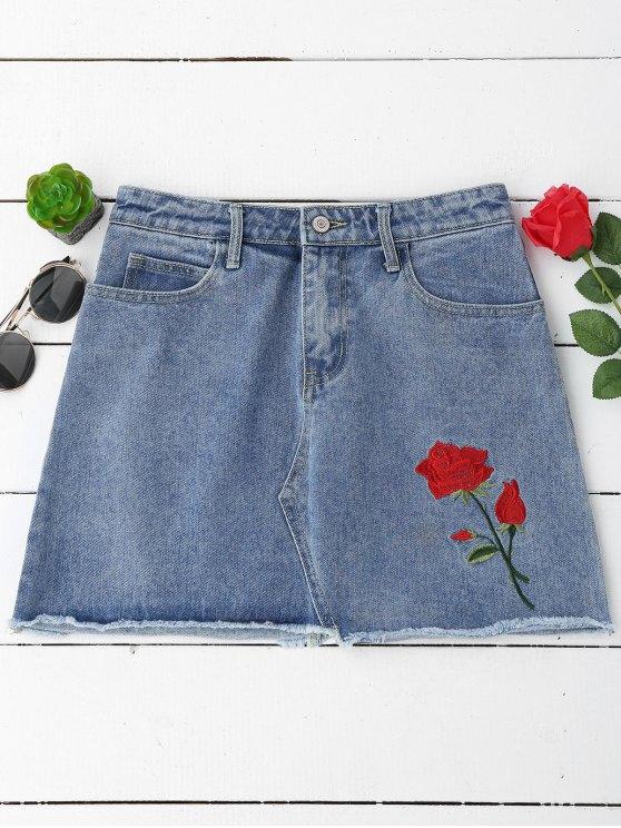 affordable Floral Embroidered Cutoffs Mini Denim Skirt - DENIM BLUE M