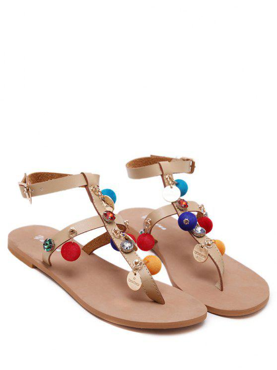 women's T Bar Pompon Flat Heel Sandals - APRICOT 37