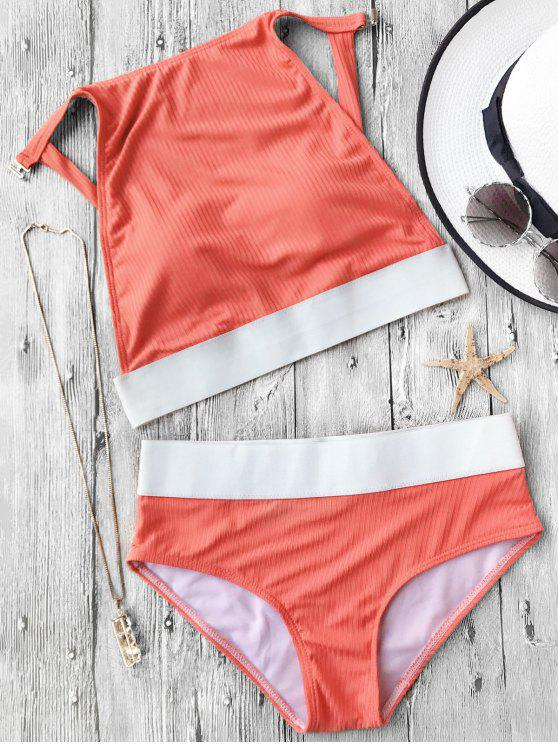 new Two Tone Padded High Neck Bikini Set - ORANGE M