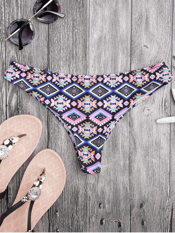 women Argyle High Cut Thong Swim Bottoms - COLORMIX M