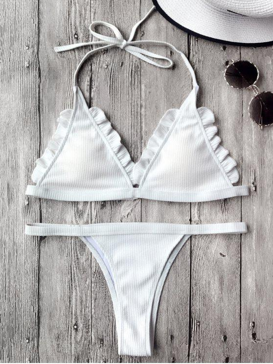 Rib Texture Frilled Thong Bikini Set - Blanco S