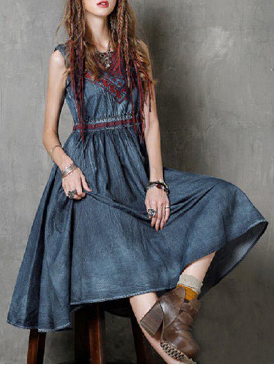 women Round Neck Sleeveless Embroidered Vintage Tank Dress - BLUE M