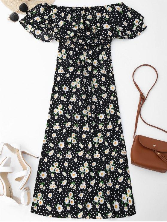 فستان الشاطئ بلا اكتاف طباعة الأزهار كشكش - الأزهار S