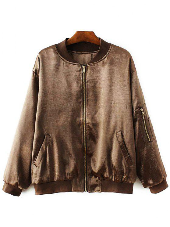 trendy Fitted Zipped Bomber Jacket - GOLD BROWN S