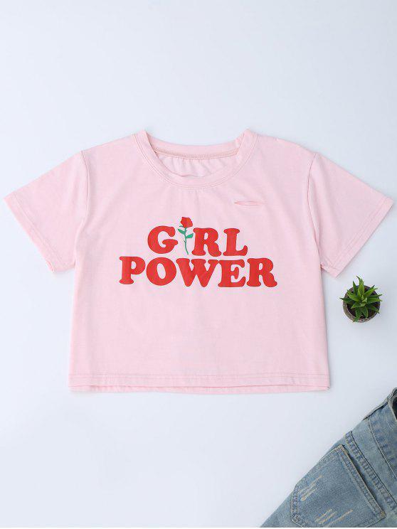19 Off 2019 Oversized Girl Power Crop T Shirt In Papaya Zaful