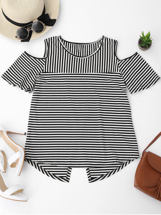 best Cold Shoulder Striped Back Slit T-shirt - BLACK M