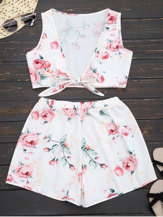 Top croppé floral embelli nud +Shorts - Blanc L