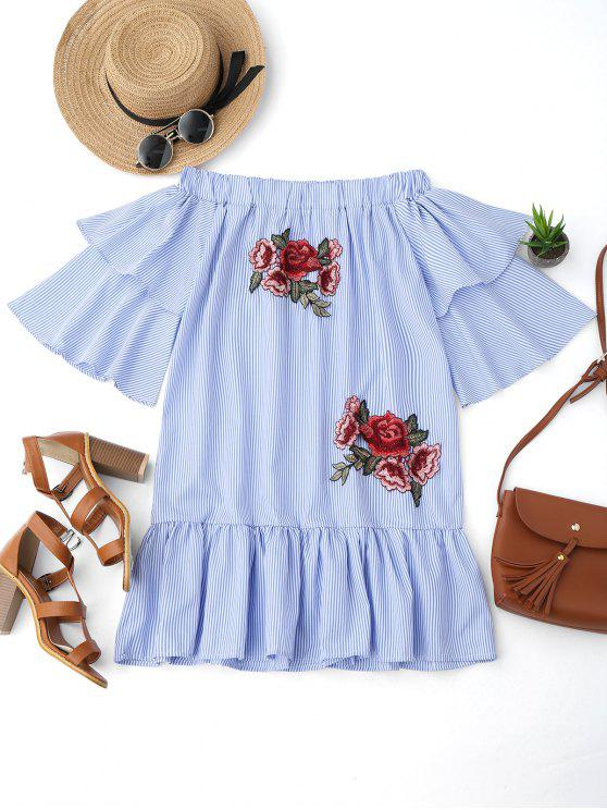women Off Shoulder Striped Drop Waist Dress - BLUE M