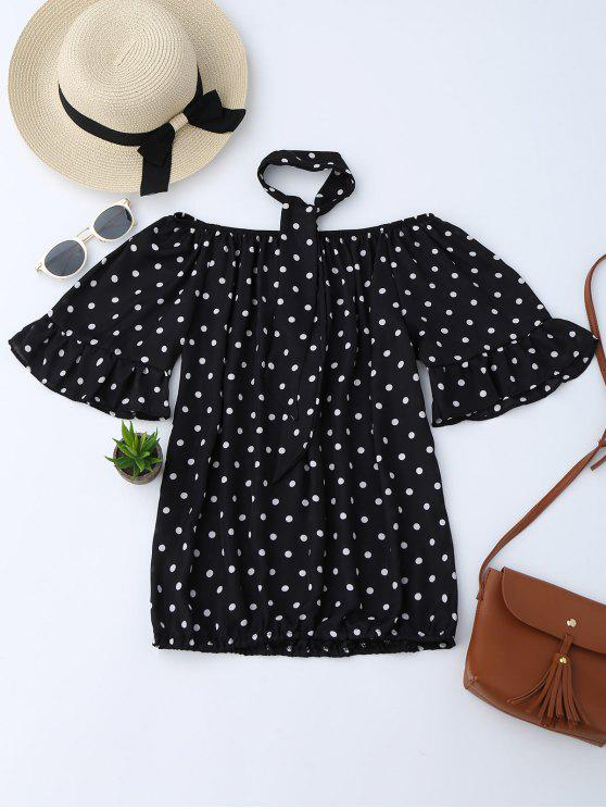 best Off Shoulder Polka Dot Blouse With Choker - BLACK M