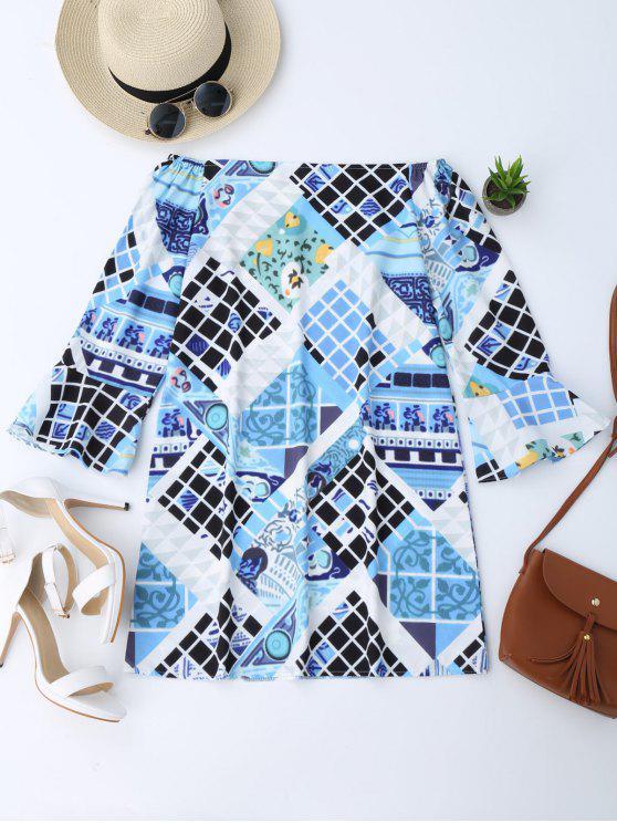 Robe en tunique imprimée épaules - Multicolore S