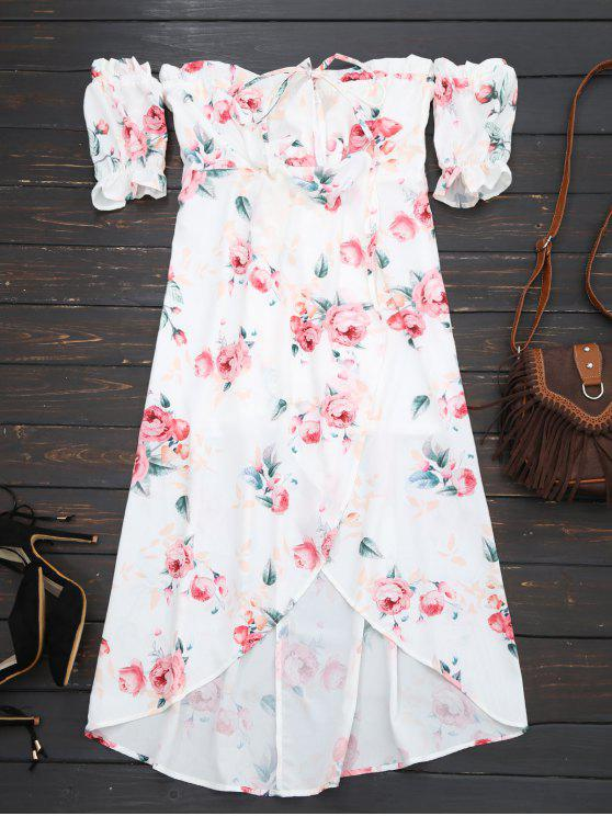 Robe imprimée fleur épaules dénudées pan asymétrique - Blanc L