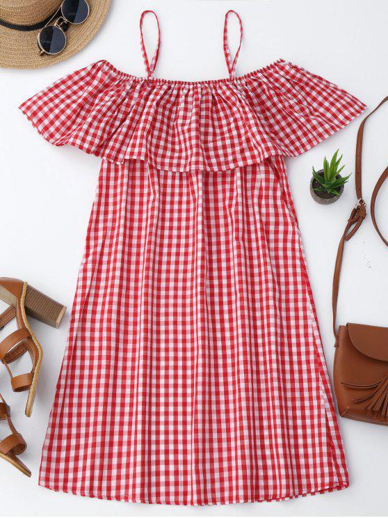 Cami Plaid Rüsche Kleid - Rot XL