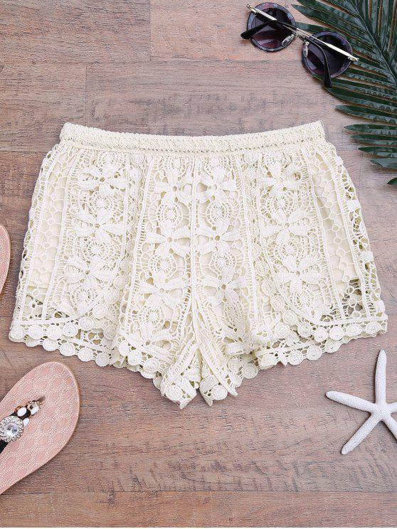 affordable Lined Crochet Cover Up Bottoms - BEIGE ONE SIZE