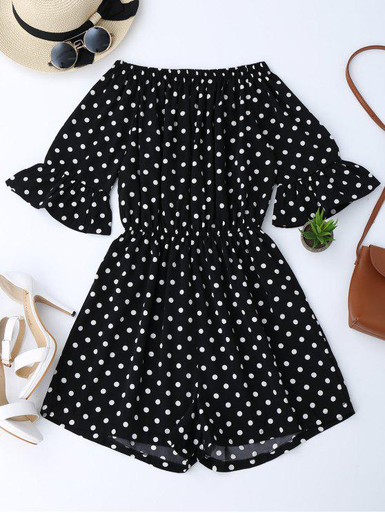 women's Off The Shoulder Polka Dot Romper - BLACK XL