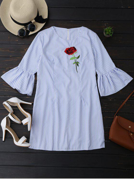 women Striped Tunic Dress With Embroidered Rose - STRIPE L