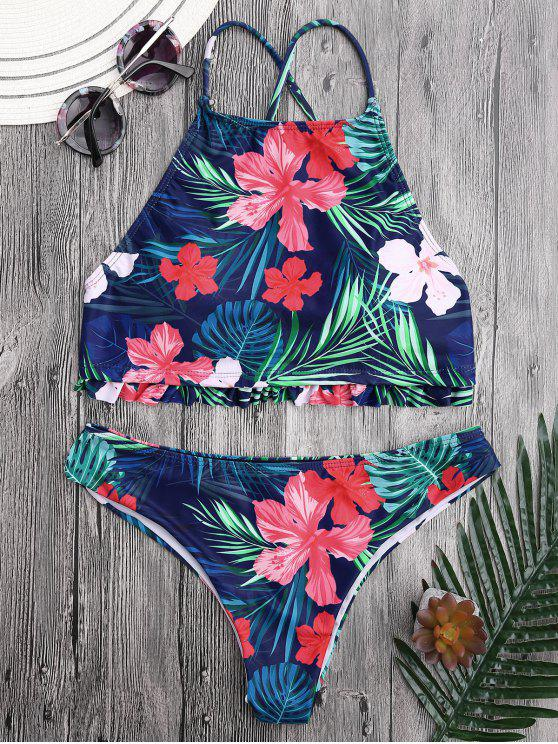 latest Tropical Floral High Neck Ruffles Bikini - FLORAL M