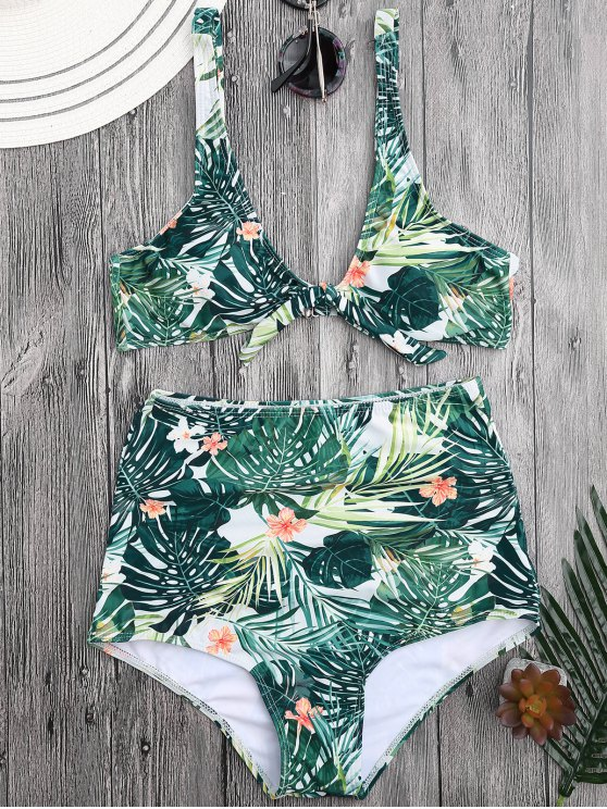 unique Tropical Floral Tied High Waisted Bikini - FLORAL S