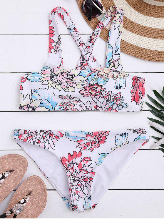 outfits Floral Print Square Neck Bikini Set - WHITE L
