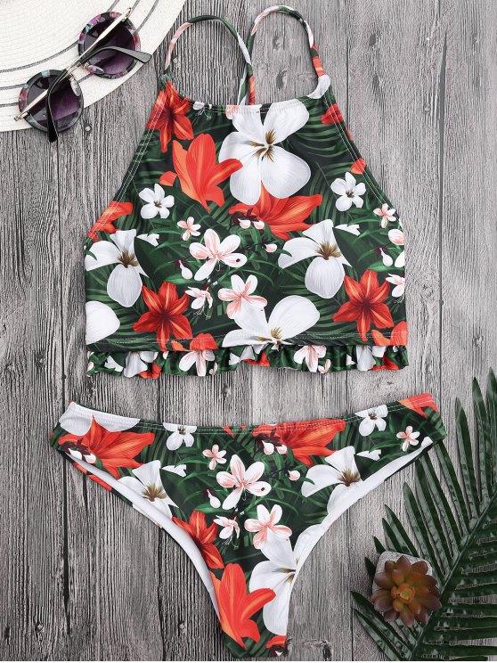 Bikini floral col haut à volants - Floral L