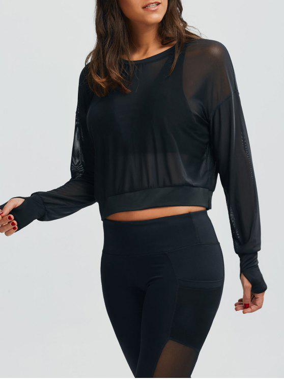 outfit Mesh See-Through Sports Top - BLACK L
