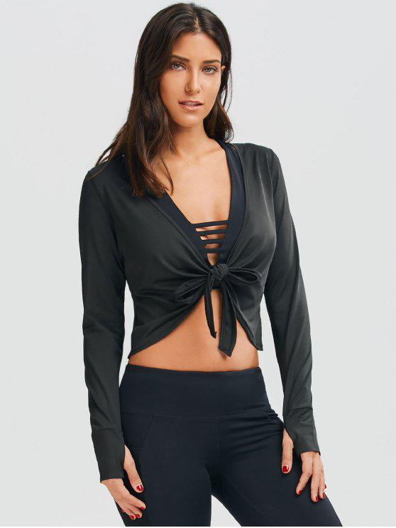 trendy Plunging Neck Thumbhole Knotted Sports Top - BLACK S