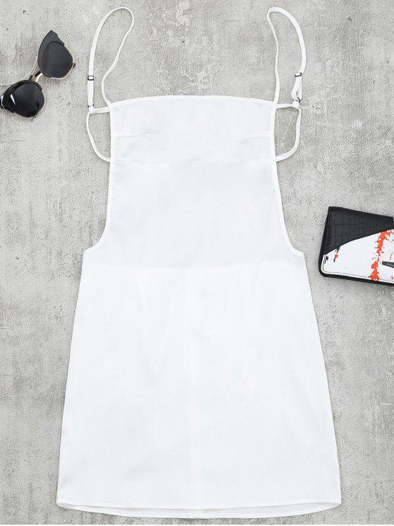 Robe Courte à Bretelles à Dos Nu - Blanc S