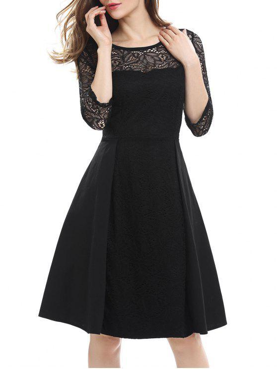 الدانتيل لوحة عالية الخصر اللباس - أسود S