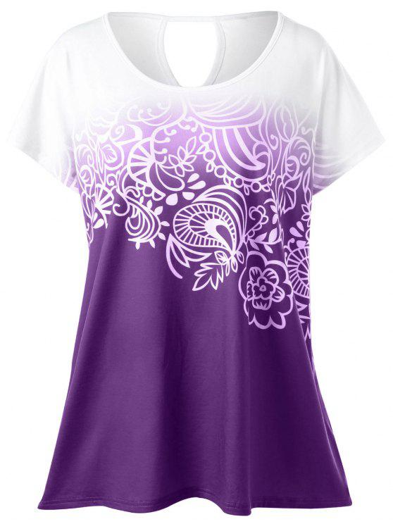 6b317d2f 29% OFF] 2019 Plus Size Floral Ombre T-Shirt In PURPLE | ZAFUL