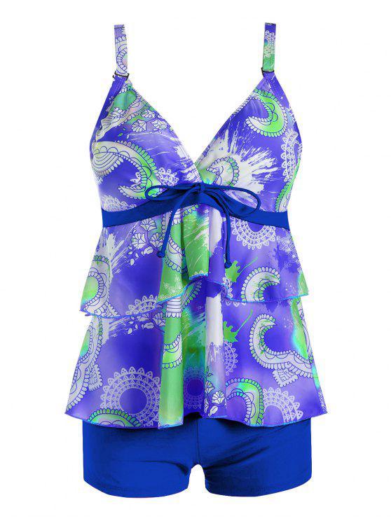 Costume Da Bagno Plus Size Con Volant Stampato - Blu 2XL