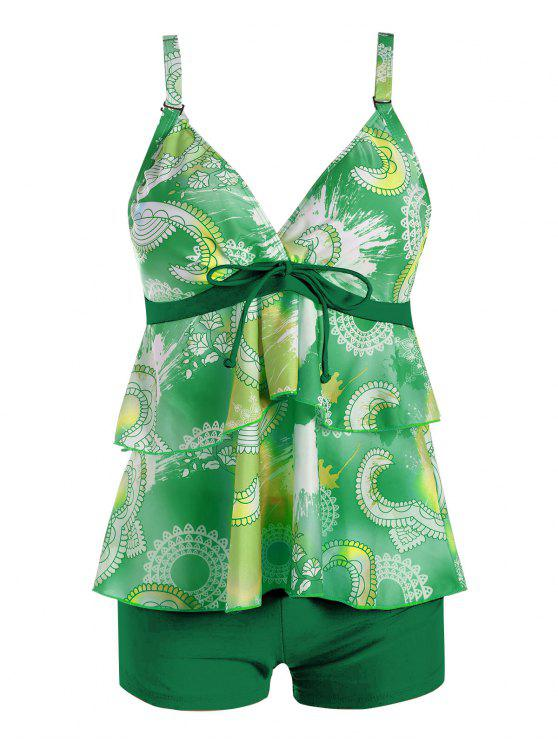 affordable Plus Size Flounce Printed Tankini Set - GREEN 3XL