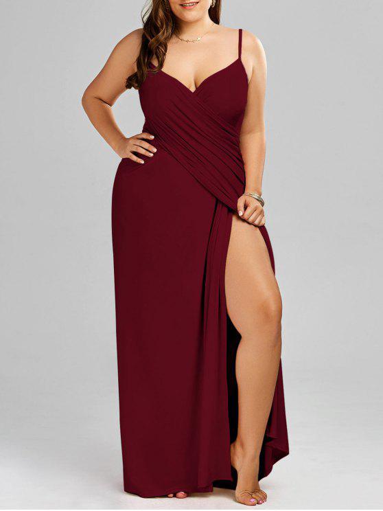 Tamanho Maxi Flowy Beach Cover Up Wrap Dress - Vinho vermelho 3XL