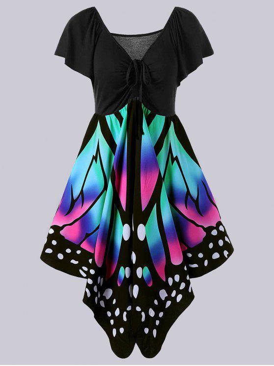 فستان الحجم الكبير امبراطورية الخصر طباعة بنمط الفراشة - الأسود والوردي 5XL