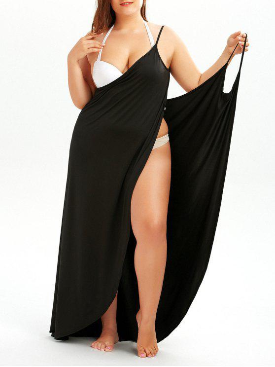 فستان الحجم الكبير لف شاطئ - أسود 5XL