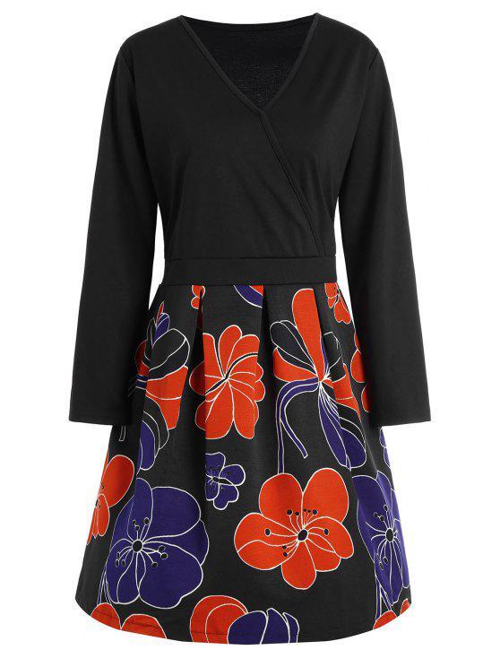 cce1da3932e 61% OFF  2019 V Neck Floral Plus Size Homecoming Dress In BLACK ...